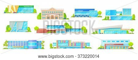 Supermarket And Public Library Building Isolated Vector Icons With Store, Shopping Mall, Shop And Ma