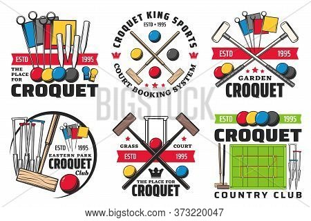 Croquet Sport Isolated Icons With Vector Game Balls, Mallets And Wickets Or Hoops, Scoring Post And