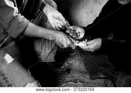 Hand Of Addict Man With Money Buying Dose Of Cocaine Or Heroine