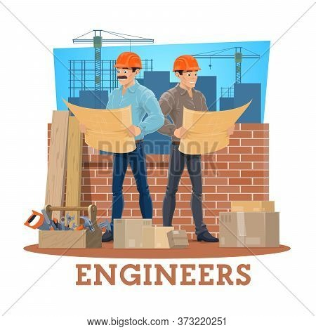 Engineer And Architect Cartoon Vector Of Construction Engineering Industry Design. Foreman Character