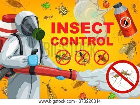 Pest Control Service Cartoon Vector Of Exterminator, Insects And Bugs. Pesticide Spray Or Desinfecti
