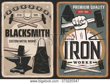 Blacksmith Work, Steel Metal Forge Retro Posters, Vector Retro Posters. Blacksmith Anvil And Hammer