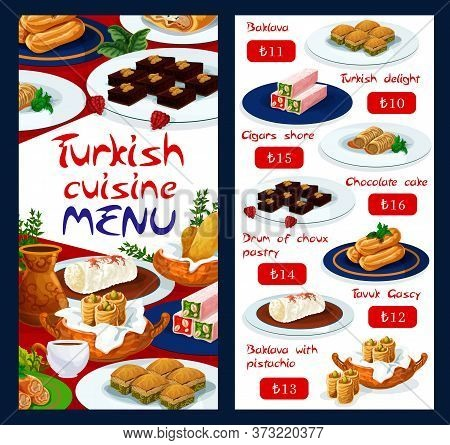 Turkish Cuisine Food Menu, Pastry Sweet Desserts And Patisserie Cakes, Vector. Turkish Delight Lokum