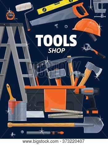 Work Tools And Instruments, Construction, Home Renovation, Repair And Remodeling. Woodwork, Painting