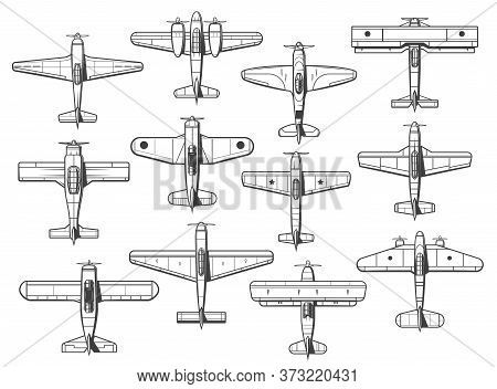 Plane Icons, Airplane And Retro Propeller Aircraft, Vector Top View. Plane Symbols And Aircraft Type