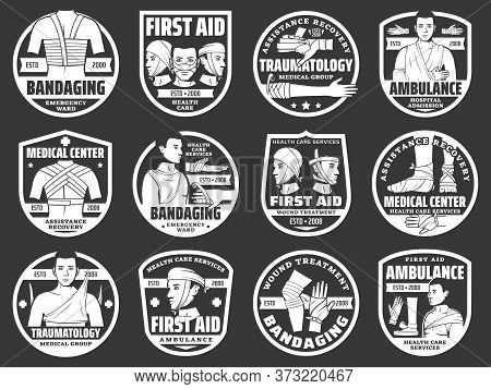 Bandaging First Aid, Trauma And Injury Medical Emergency Vector Icons. Traumatology First Aid, Medic
