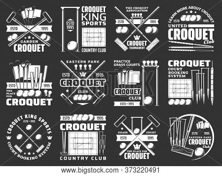 Croquet Items And Equipment Icons, Sport Club Tournament Vector Signs. Croquet Tournament And Champi