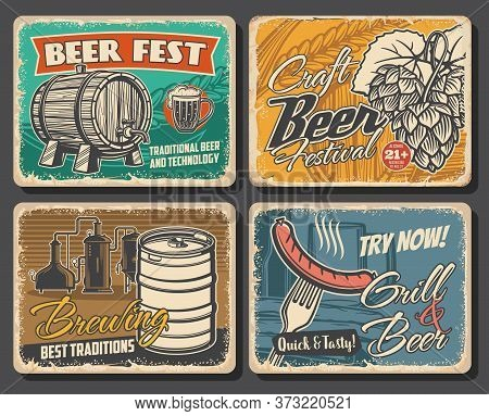 Beer Brewery Retro Posters, Alcohol Drinks Pub And Bar, Vector. Craft Beer Brewery And Grill Bar, Ok
