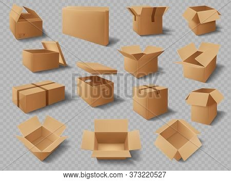 Cardboard Boxes, Packages And Delivery Carton Cargo Packs, Vector Realistic Mockups. Brown Cardboard