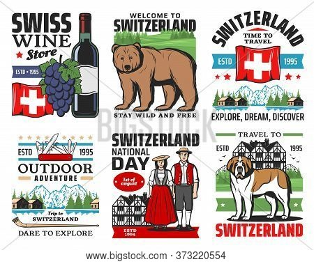 Swiss Travel Icons, Switzerland Alps Mountains, Geneva And Zurich City Culture Landmarks, Vector. We