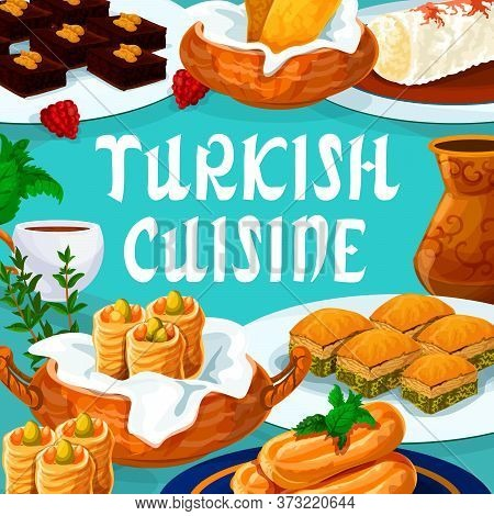 Turkish Cuisine Food, Turkey Sweet Desserts Menu, Vector Traditional Pastry Patisserie Cafe Dishes.