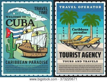 Cuba Travel Posters, Havana Beach Palms, Caribbean Tropical Tourism Vector Postcard. Welcome To Cuba