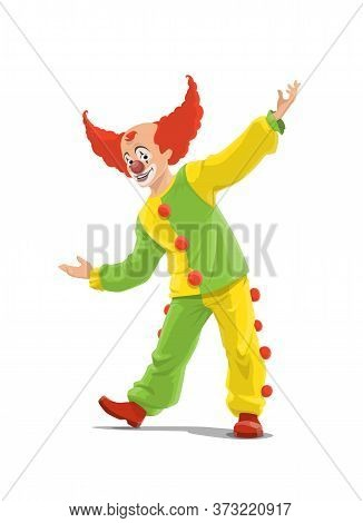 Clown, Big Top Circus Shapito Clown In Red Wig, Funfair Carnival Vector Isolated Cartoon Character.