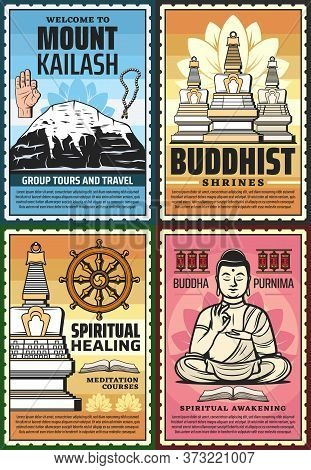 Buddhism Religion Posters, Buddhist Temples And Meditation, Zen Yoga Spiritual Awakening, Vector. Ti