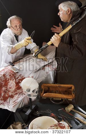Evil Doctor With Corpse Threatens Grave Robber
