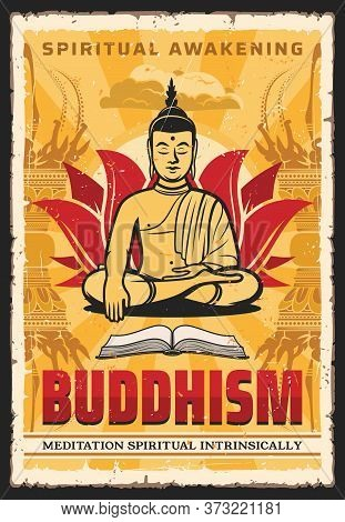 Buddhism Poster, Buddha In Meditation And Dharma, Enlighten, Spiritual Awakening, Vector. Buddhist M