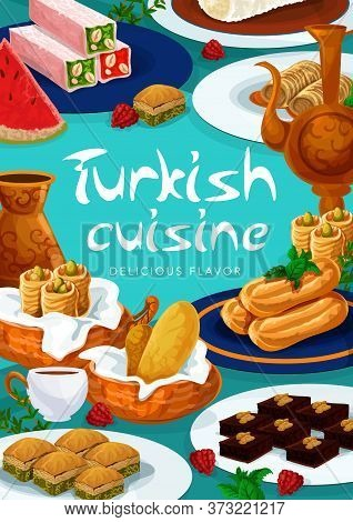 Turkish Cuisine Food Menu Desserts And Sweets, Vector, Pastry Baklava, Delight Lokum, Vector Confect