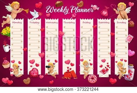 School Timetable, Week Schedule Table, Student Calendar Planner, Vector Valentine Day Love Hearts An
