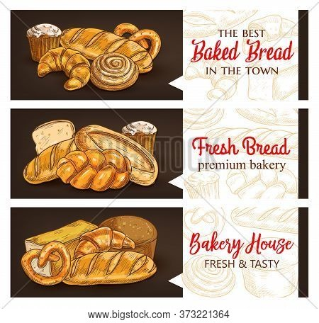 Bakery And Bread Products Sketch Vector Banners. Bakery Shop Whole Wheat And Rye Bread, Sweet Pastry