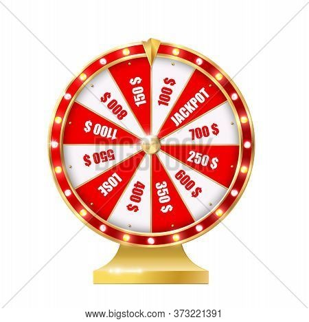 Golden Wheel Of Fortune 3d Realistic Vector. Big Six Wheel With Different Money Prizes, Jackpot And