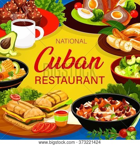 Cuban Cuisine Square Vector Poster. Cuban Food Restaurant Menu Cover. Sandwich With Meat And Cheese,