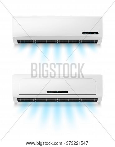 Conditioners, Realistic Air Conditioning Eqipment Vector Mockup. Working And Blowing Out Cold, Fresh