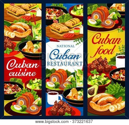 Cuban Cuisine Vector Banners. Cuban Food Restaurant Posters. Fried Bananas, Meatloaf, Sandwiches Wit