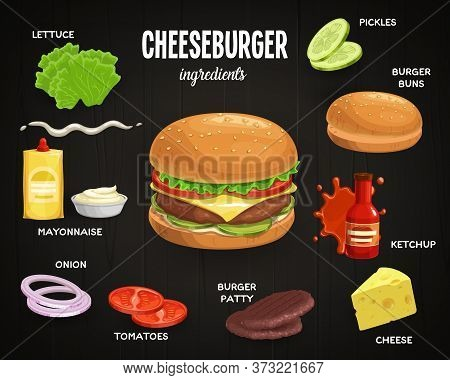 Cheeseburger Ingredients, Fast Food Cafe Menu Vector Elements. Lettuce Salad And Burger Bun With Ses
