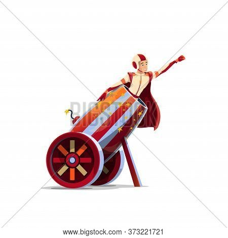 Big Top Circus Human Cannonball Performer Cartoon Vector. Man In Helmet And Cape, Circus Performer S