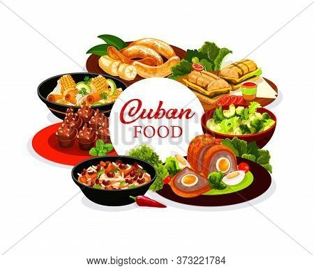Cuban Cuisine Menu Round Vector Cover. Cuban Restaurant Dishes With Meat And Vegetables. Fried Banan