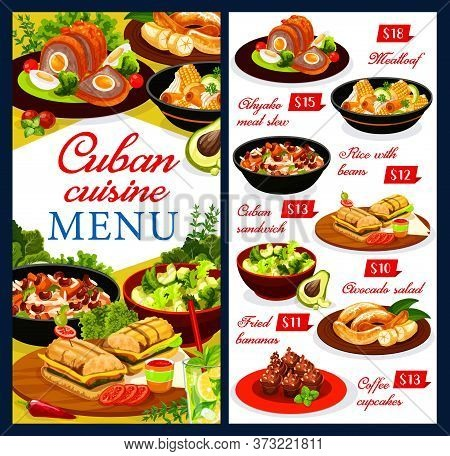 Cuban Cuisine Restaurant Menu Vector Cover. Cuban Dishes With Meat And Vegetables. Pulpeta Meatloaf,