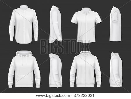 White Sweatshirt, Hoodie And Shirt Realistic Vector Mockup Of Men Clothes. Front And Side Views Of S