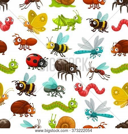 Cartoon Insects And Bugs Vector Seamless Pattern. Background With Cute Ant, Worm, Caterpillar, Bee A