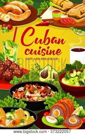 Cuban Cuisine Vector Poster. Restaurant Menu Cover. Meals With Meat, Vegetables, Fruit Salads And Ba