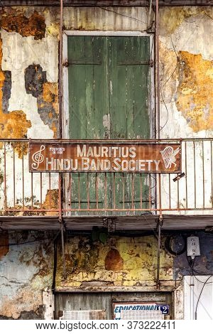 Port Louis, Mauritius - January 29, 2019: Facade And Signboard Of The The Mauritius Hindu Band Socie