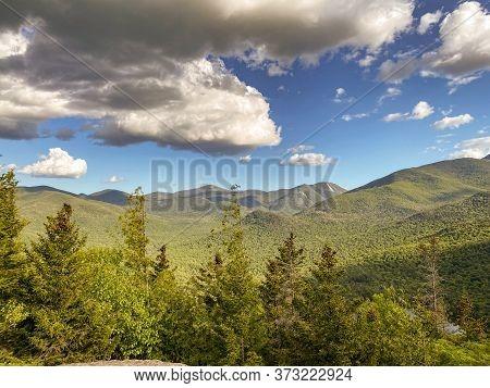 Landscape Of Adirondacks Mountains In Upstate New York Near Lake Placid.  Beautiful Sunny Summer Day