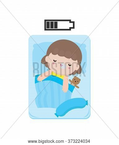 Cute Cartoon Little Girl Taking Power Nap With Charging Battery. Adorable Sleeping Kids, Vector Flat