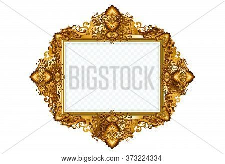 Vintage Frames And Borders Set,oval Gold Photo Frame With Corner Thailand Line Floral For Picture, V