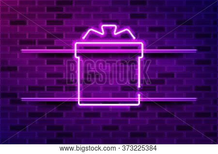 Gift With A Bow Glowing Neon Sign Or Led Strip Light. Realistic Vector Illustration. Purple Brick Wa