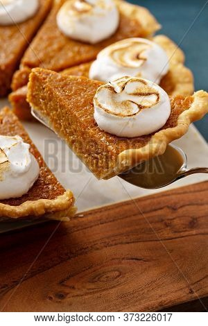 Sweet Potato Pie Slice With Marshmallow Fluff Topping