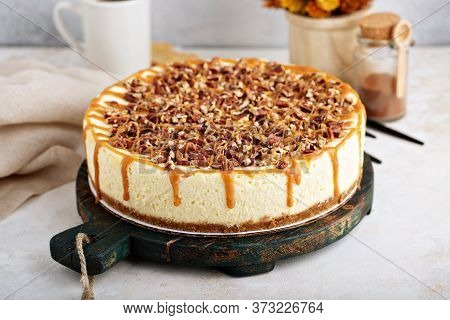 Caramel Pecan Cheesecake, Rich And Delicious Fall Dessert