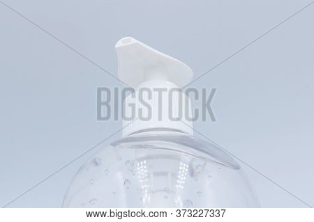 Close Up. Clear Hand Sanitizer In A Clear Pump Bottle Isolated On A White Background. Hand Sanitizer