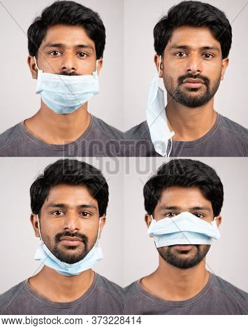 Collage Of Young Man In Improper Way Of Using Medical Face Masks - Awareness Concept To Ware Mask, T