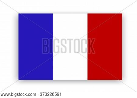 Flag Of France. Vector National French Flag. Paris Icon Illustration. Geographical Symbol Of The Nat