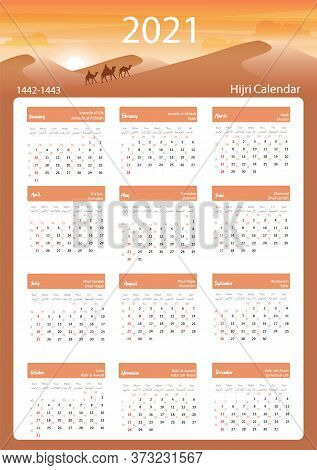 Hijri Islamic Calendar 2021. From 1442 To 1443 Vector Celebration Template With Week Starting On Sun