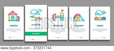 Playground Children Onboarding Mobile App Page Screen Vector. Basketball And Climbing Wall, Seesaw A