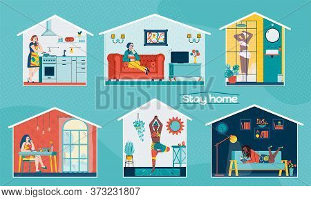 Stay Home Banners Or Posters Set With Women Cartoon Characters Busy With Domestic Chores, Sport And
