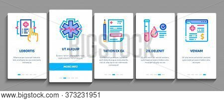 Health Checkup Medical Onboarding Mobile App Page Screen Vector. Healthcare Checkup List And Calenda