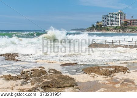 Ocean Storm Aftermath: A Mass Of Thick Foam Covered The Rocks Near Rock Pool Following Extreme Storm