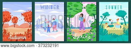 Nature Seasons Poster Set With Outdoor Landscape And Cartoon People. Autumn, Winter, Spring And Summ